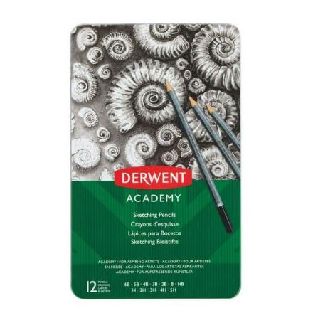 Derwent Academy Sketching Pencils Pack of 12 Assorted